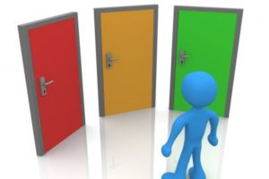 An image of 3 coloured doors