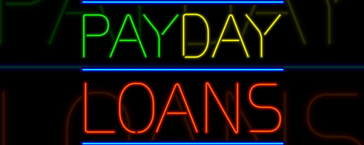 A neon payday loan sign