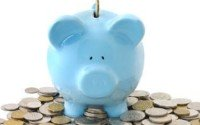 A Picture of a Blue Piggy Bank