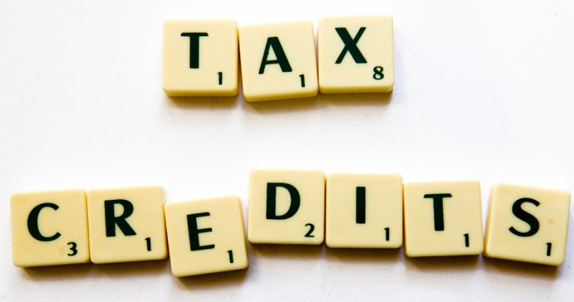 An image of scrabble tiles spelling tax credits