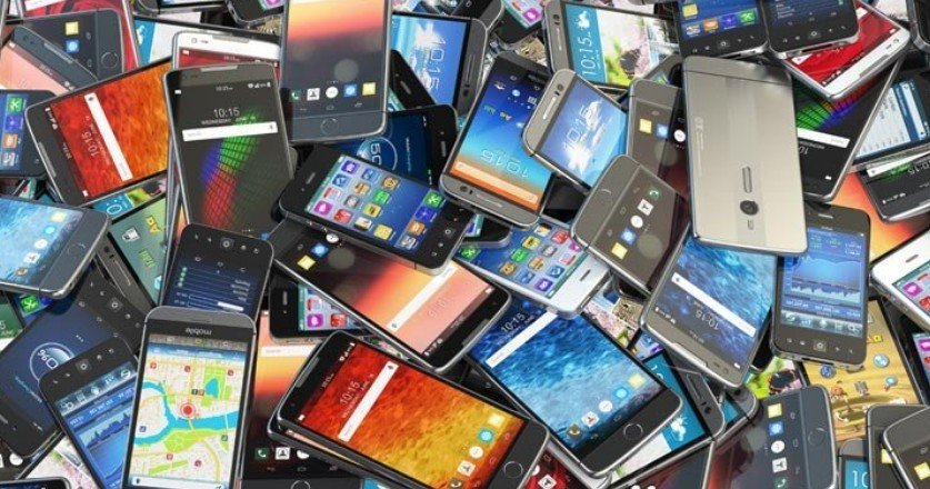 An image of lots of mobile phones