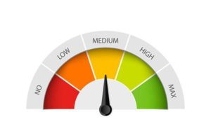 An image of a credit score meter
