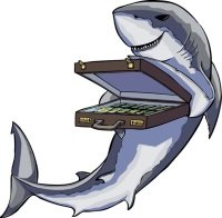 shark with a briefcase of money