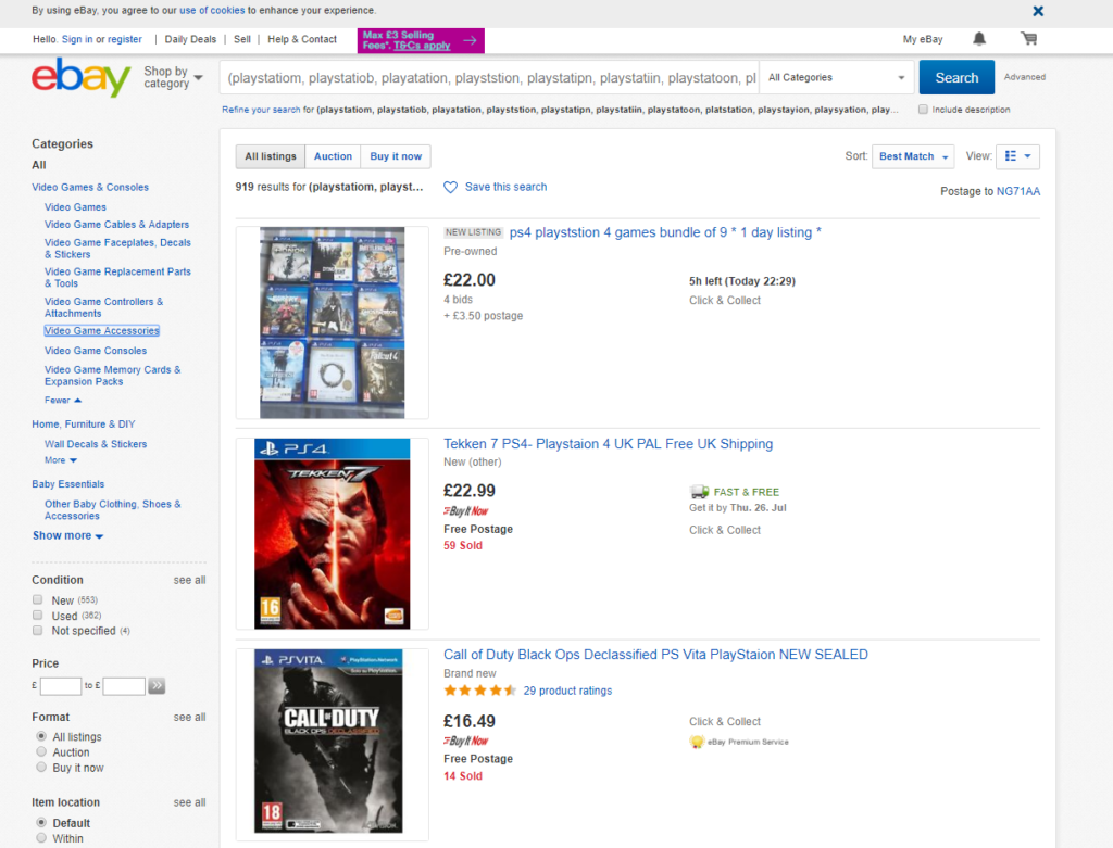 A screenshot from ebay showing misspelled playstation games