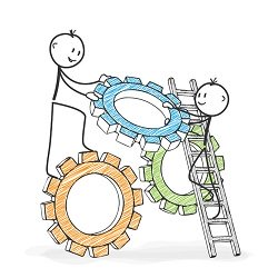 Stick man putting cogs together