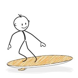 Stick man surfing a surfboard