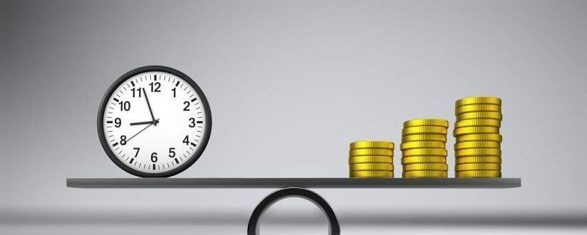 An image of a clock and a stock of coins balancing on a seesaw