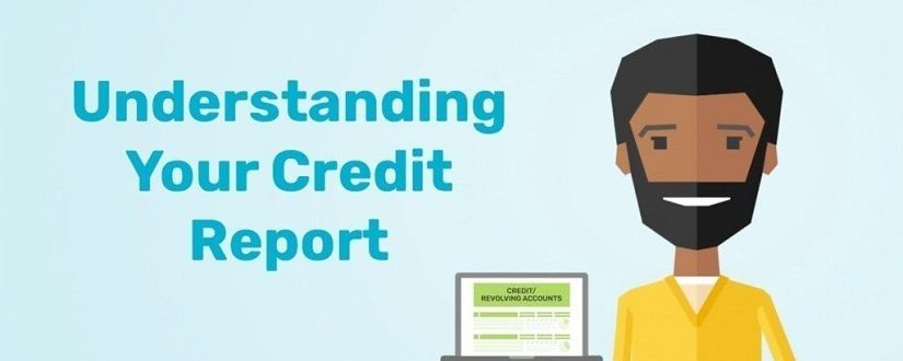 An image of a cartoon man holding a credit report