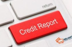 An image of a red credit report button