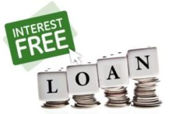 An image of an interest free loan sign