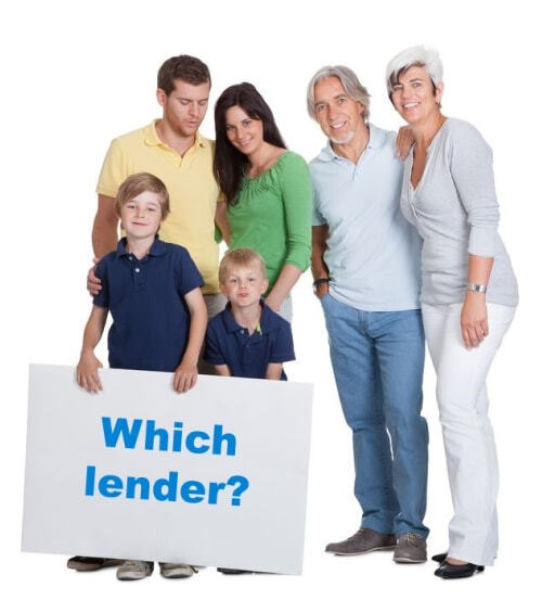 Family holding a board saying which lender