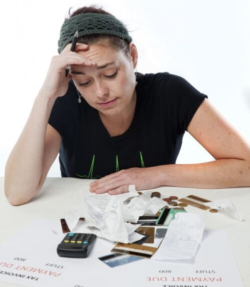 Woman Calculating Bills